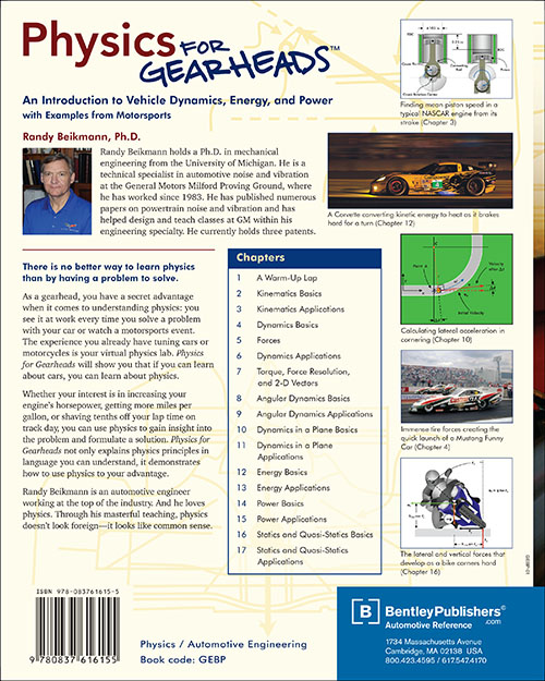 Physics for Gearheads by Randy Beikmann back cover