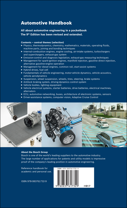 Bosch Automotive Handbook - 9th. Ed. back cover